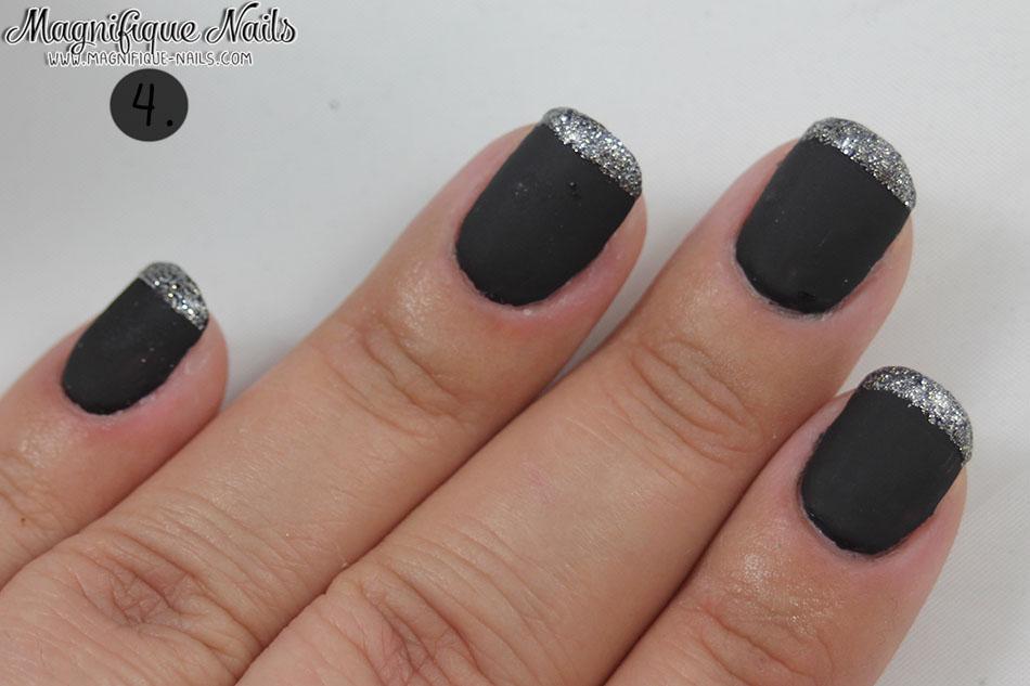 Matte Black Glitter Tips Nail Tutorial – Glam Express