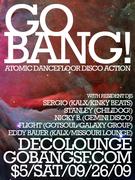 Go BANG! Saturday September 26! Atomic Dancefloor Disco Action!