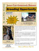 James Carr Donates Breeding Opportunity to BIG JIM and/or PANTHER HANOVER
