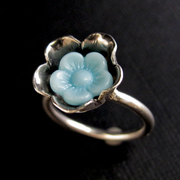 Aqua Button Flower Ring