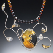 Septarian and Amber Necklace