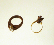 wood-gold rings