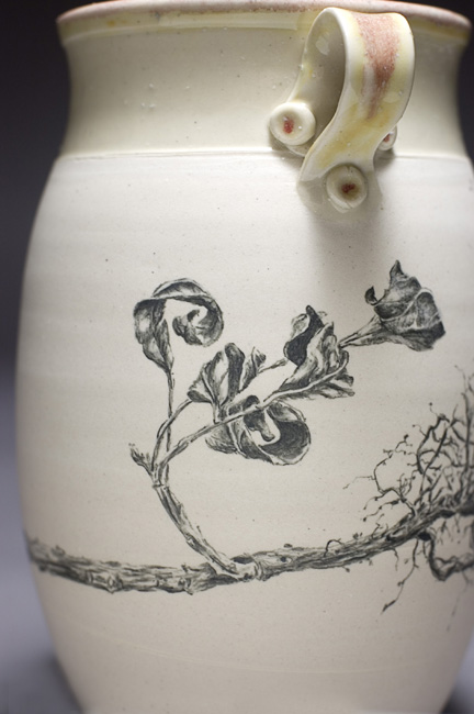 Vase with Leaf Study, detail