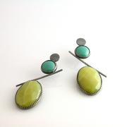 Mint Enamel and Stone Earrings