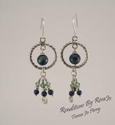 Malachite, Lapis & Swarovzski Bead Earrings In Sterling Silver