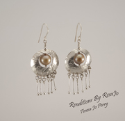 Reticulated Dome Earrings with Champagne Pearls