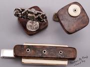 Burlwood, Mammoth Ivory & Sterling Silver Cufflinks & Tie Bar