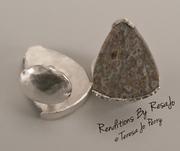 Blue/Gray Dinosaur Bone in Hand Forged Silver Cufflinks