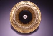Gold and Black Circle - pin/pendant - micro-chasing