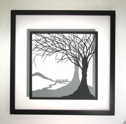 Trees of Life Silhouette Paper Cut Original Handmade