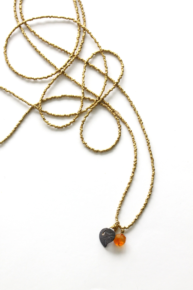 Necklace: Garden Leaf with Gold