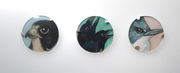 Three Brooches: Peregrine Falcon, Crows, Kingfisher