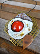 red dome enamel with brass grid necklace