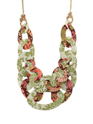 Pink and Green Wallflower Necklace