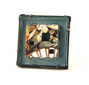 Blue nouveau framed brooch