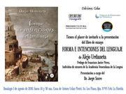 """PRESENTACIÓN DEL LIBRO DE ENSAYO """"FORMAS E INTENCIONES DEL LENGUAJE""""  DEL ESCRITOR VENEZOLANO ALEJO URDANETA"""