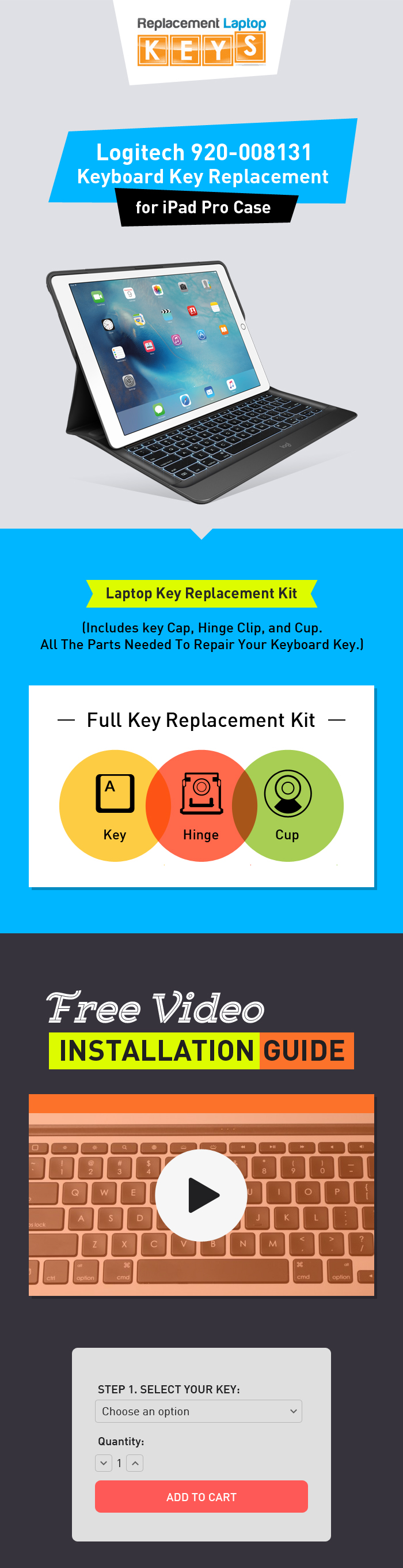 Logitech 920-008131 Laptop Key Replacement