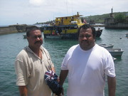Leaving Banaba - MP Timon Aneri and Chairman Bauro - Banaba