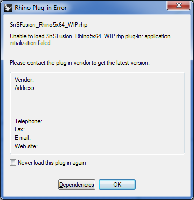 SnSFusion loading problems – Scan-and-Solve for Rhino