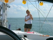 Kathe on the foredeck