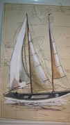 Sailboat painting on chart