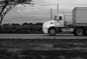 Camión pasando frente a cambures.