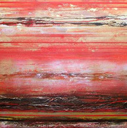 Redesdale R & T Series in Red&Gold 28x28 mixed media Mike Bell