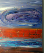 earth-water-fire-air-space, 30 by 40, Acrylic on canvas, 2008