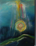 God showers his blessings, 30 by 40, Acrylic on canvas, 2008