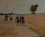 OGHAGBON E. MOSES OIL ON CANVAS, 20011, ''BEFORE PERFOMANCE'' 1, 24'' X 20'' , N100,000.00