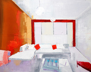 Room with orange wall