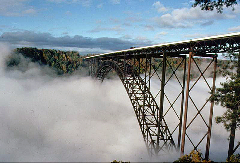 New River Gorge Bridge in Fog