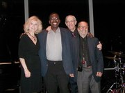 Lenore Raphael trio  Hil Green, bassist,  Rudy Lawless, drummer and in back Todd Barkan\, host at Dizzy's & Tod at Dizzy's