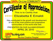 "CERTIFICATE OF APPRECIATION TO ELISABETTA FROM HASSAN ARTISTE RAHEEM ""WE ARE CREATIVE PEOPLE"