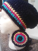 Crochet Tam With Matching Earrings