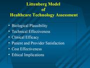 MedTech-IQ Littenburg Model Health Care Technology Assessment