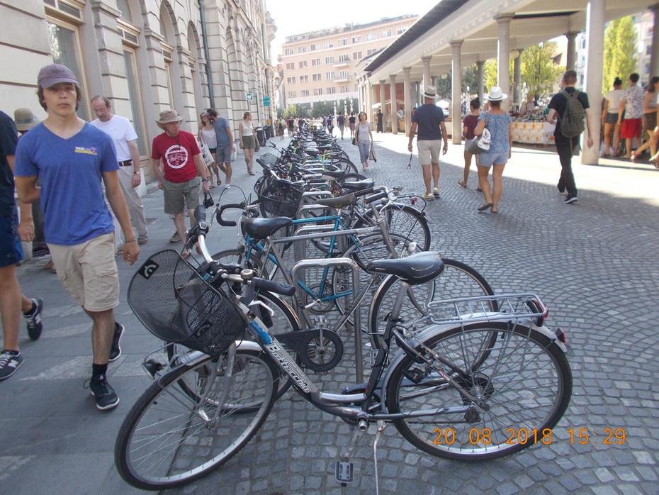 Cycle Parking lot in Ljubljana in Slovenia.