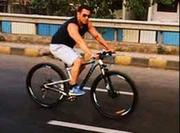 Actor Salman Khan goes cycling on the streets on Mumbai!