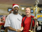 Jeff Shaw-2007-08 REAL BOWLER OF THE YEAR, posing with Theo McNair