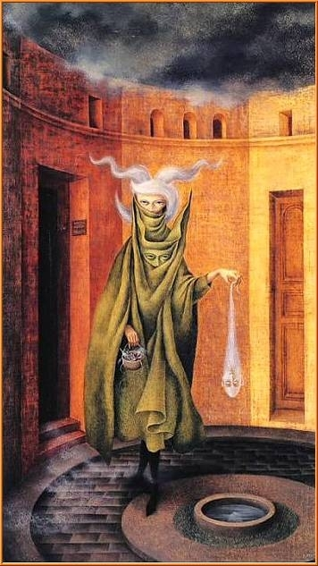 'woman leaving the psychoanalyst's office'   remedios varo