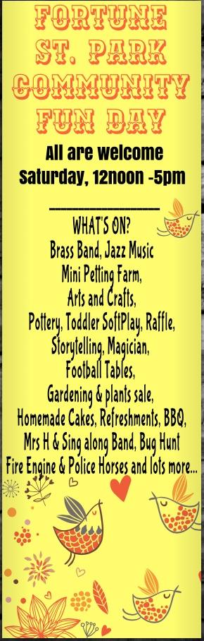 Fortune Street Community Fun Day Saturday 30th June 12-5pm