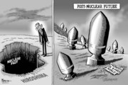 nuke weapons: Obama hypocrisy on nuclear disarmament - political cartoon by Paresh