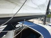 Untere Reffleine am Klamp Steuerbord Seite