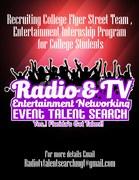 Recruitment Flyer For Entertainment Internship program