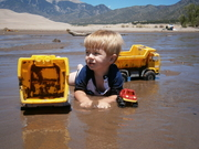 Playing with trucks at Great Sand Dunes NP