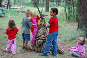 Building a stick teepee