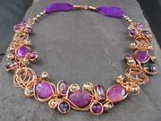 Purple Jasper Wire Twist Necklace