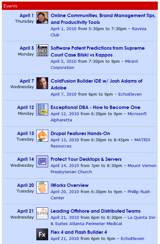 April User Group Events