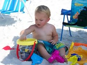 Cole on the beach in Florida, visiting his Pops
