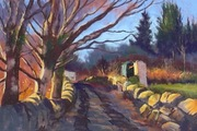 """Pastel painting. .""""Winter Sunshine"""" 19""""x13"""" on clairefontaine pastel paper."""